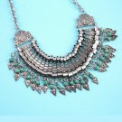 Women Coin Ethnic Triangle Pendant Necklace Chain Vintage Statement Necklace HC