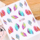 Feather Nail Art Water Transfer Decal Sticker Rainbow Dreams Bright Color Hot HC