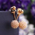Korean Style Pop Alloy Artificial Pearl Round Ear Stud Earrings Girls Gift HC