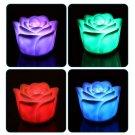 7 Colors Flameless Changing Rose Flower Candle Sound Sensor LED Night Light HC