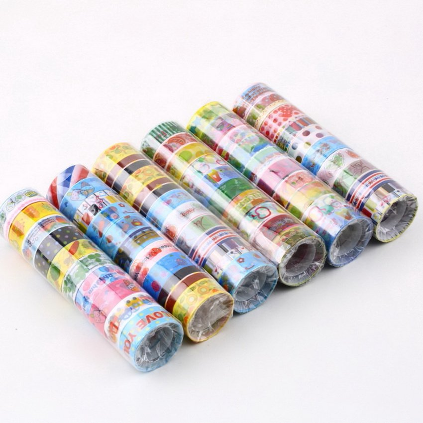 10 Rolls Mixed Cartoon Deco Washi Tape Adhesive Scrapbook Sticker 1.5cmX300cm HC