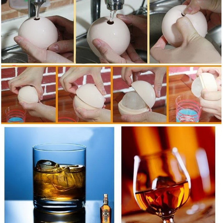 2.5 inch Silicone Ice Ball Maker Mold Sphere Large Tray Whiskey DIY Mould HC