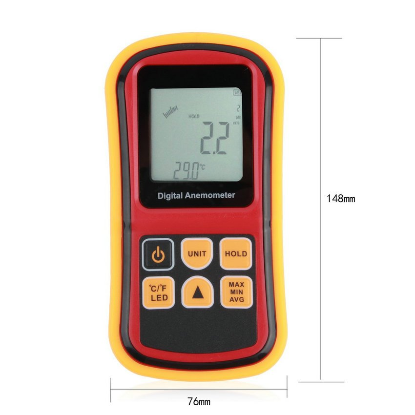 GM8901 Anemometer Wind Speed Gauge Temperature Measure Digital thermometer HC