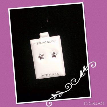 """Shinning star"" Silver stud Earrings"