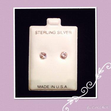 """""""White Diamond color CZ"""" Silver studs"""
