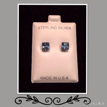 """""""Zircon Blue"""" CZ silver studs"""