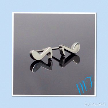 """Musical Eighth Note"" stainless steel studs"