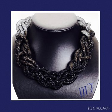 """Crystal Rope Mesh"" Statement Necklace"