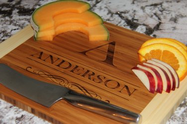 "Personalized Cutting Board 11x14 (3/4"" Thick) Bamboo - Anderson Style"
