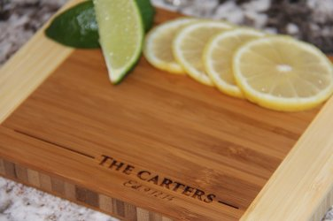 """Personalized Cutting Board 6x8 (3/4"""" thick) - Carter Style"""