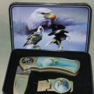 "Eagle Folding Knife & Money Clip  Gift Boxed 7"" open Wildlife Folding Knife"