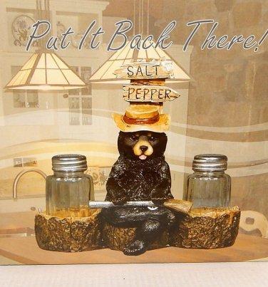 """Bear Salt & Pepper Shaker Set 7""""x5"""" Resin Holder Glass 3"""" Shakers Bear with Gun"""
