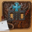 Western Resin Cowboy Double Electrical Switch Plate Cover W Turquoise Cross