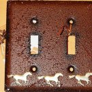 Western Resin Cowboy Double Electrical Switch Plate Cover w Silver tone Horses
