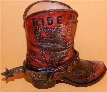 Western Resin Cowgirl  Boot Collectible Plant, Pen Pencil Holder Ridem' Cowboy
