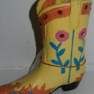 Western Resin Cowboy Boot Collectible Plant, Pen Pencil Holder Yellow W Flowers