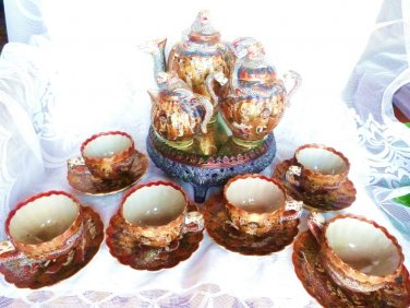 SATSUMA TEA SET THOUSAND FACES JAPANESE TEA SET NIPPON KAGETSU GA DRAGON WARE