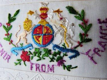 VINTAGE POSTCARD WAR POSTCARD EMBROIDERED FRANCE WAR CARD