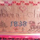 ANTIQUE SAMPLER 1838 VINTAGE TEXTILE SAMPLER ROBENA CHRISTIE FAMILY NAME