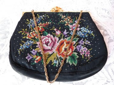 VINTAGE EMBROIDERED PURSE FLOWERS CROSS STICH EVENING BAG FANCY FAN FRAME