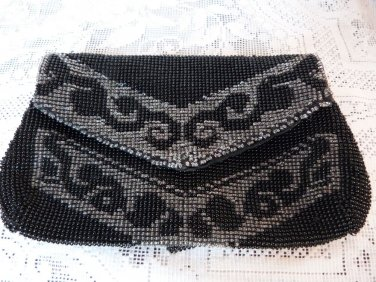VICTORIAN MICRO BEAD PURSE BLACK GLASS BEAD DANCE PURSE