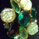 VINTAGE JULIANA DEMO PARURE BROOCH VOLCANIC GREEN CRACKLE GLASS FOIL CABACHONS