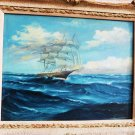 VINTAGE TALL SHIP OIL PAINTING ALFRED TUTT MADSEN SAIL FISHING BOAT NAUTICAL