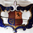 ANTIQUE ROYALTY BRITISH COAT OF ARMS BROOCH GUILLOCHE ENAMEL COAT BROOCH