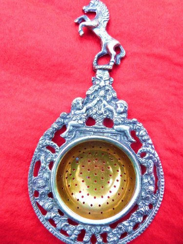 VINTAGE TEA STRAINER SILVER ALLOY ITALY HERALDIC HORSE HAND CUT