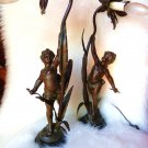ART NOUVEAU LAMP CUPID FIGURAL BRONZE LAMP CHILDREN