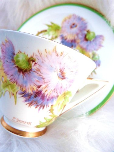 VINTAGE ROYAL DOULTON CUP SAUCER SCOTTISH THISTLE TEACUP SAUCER CURNOCK