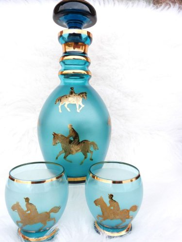 MURANO GLASS DECANTER HORSE JOCKEY EQUESTRIAN