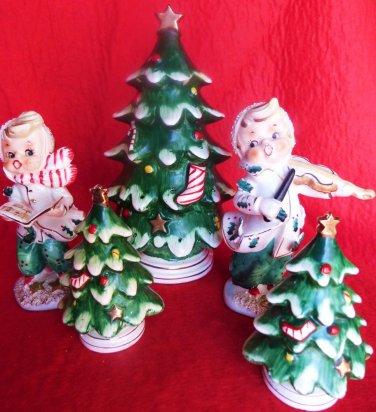 VINTAGE CHRISTMAS SALT PEPPER CHRISTMAS TREE 5PC LOT
