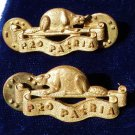 VINTAGE RCF COLLAR BADGES CANADIAN REGIMENT PRO PATRIA BEAVER MEDAL ARMY 2XX