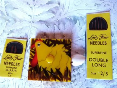 VINTAGE SEWING TAPE MEASURE CHICKEN EGG VINTAGE NEEDLES 2XX