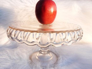 VINTAGE CAKE STAND OLD COLONY LACE HOCKING GLASS CAKE SALVER EAPG GLASS