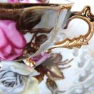 JAPAN FOOTED CUP SAUCER VALENTINES RIBBON PLATE PIERCED