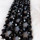 VINTAGE MOURNING JEWELRY JET BLACK GLASS BEAD TIE