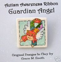 Autism Awareness  - Puzzle Piece Ribbon Guardian Angel Pin - Red Hair FREE SHIPPING!!