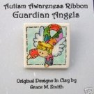 Autism Awareness -Puzzle Piece  Ribbon Guardian Angel Pin Light or Darker Blonde FREE SHIPPING!!