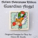 Autism Awareness -Puzzle Piece Ribbon Guardian Angel Pin - Light Brown Hair FREE SHIPPING!!