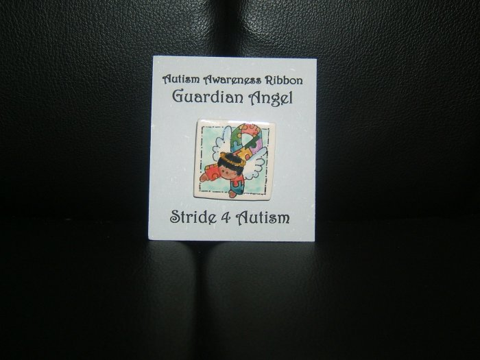 Autism Awareness- Puzzle Piece Ribbon Guardian Angel Pin - African American FREE SHIPPING!!