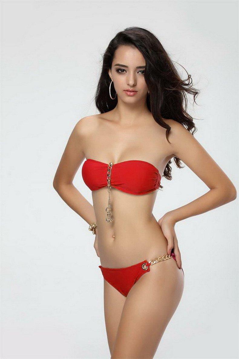 Free Shipping 2pcs Anchor Charm Red Sexy Women Padded Bandeau Bikini Size S/M/L