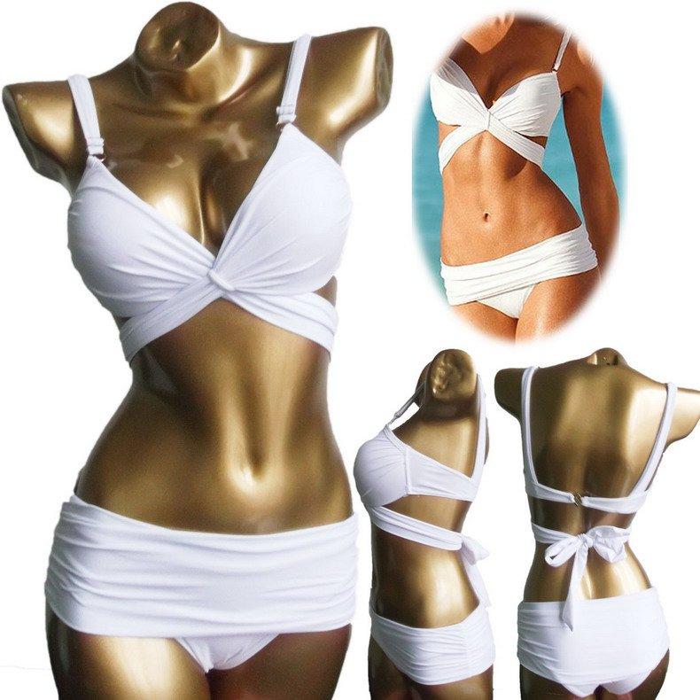2pcs Sexy White Swimwear Set Women Padded Draped Push-Up Bikinis Set Size S/M/L Free Shipping