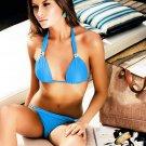 2pcs Sexy Women Padded Blue Halter Swimsuit Set Sexy Bikinis Sets Wholesale Size S/M/L Free Shipping