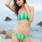 Free Shipping 2pcs Women BOHO Padded Green Mesh Bikini Sets Sexy Swimsuits Wholesale Size S/M/L