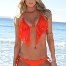 Free Shipping 2pcs Sexy Padded Women Orange Fringe Bikini Halter Sets Sexy Tassel Swimwear Wholesale