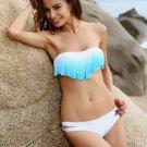 Sexy Teal Gradient Padded Bandeau Fringe Tassel Bikini Sets Sexy Swimwear Women Swimsuit S M L