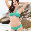 2Pcs New Style Sexy Women Green One Shoulder Shimmer Push Up Bikini Swimsuit Hot Green Pleat Bikini