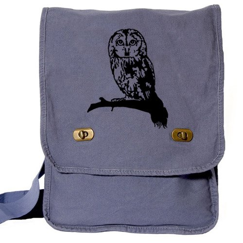 Cute Owl Messenger Bag Blue Canvas